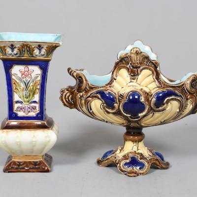 Vas och Skål, Majolika, 1800/1900-tal