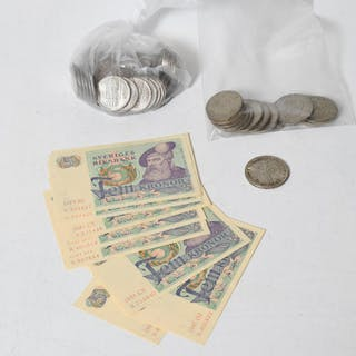 Mynt, silvermynt och sedlar