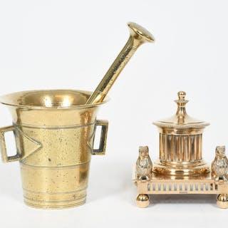 Mortel och skrivställ, mässing, 1800-tal