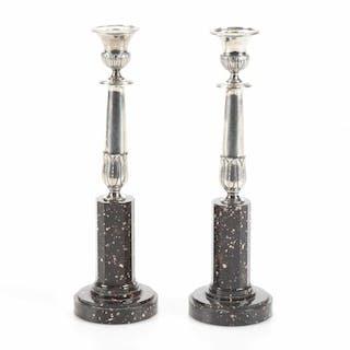 Hans Georg Vogt, ett par ljusstakar i silver och porfyr