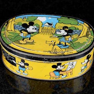 "Plåtburk Mickey Mouse ""Saetre Kjeks"" 1930-tal"