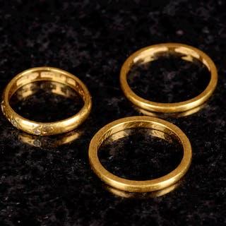 Ringar 23K Guld 1900-tal (3st)