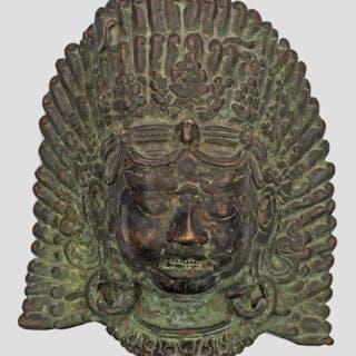 Tibeto-Chinesische Bronze-Maske