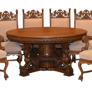 Winged Griffin Dining Table 60w Extends To 87 6 Carved Oak Chairs