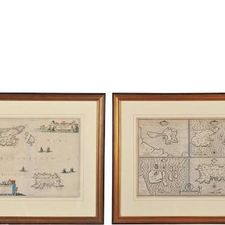Two 17th Century Maps Showing Guernsey, Jersey, Farne and Holy Island