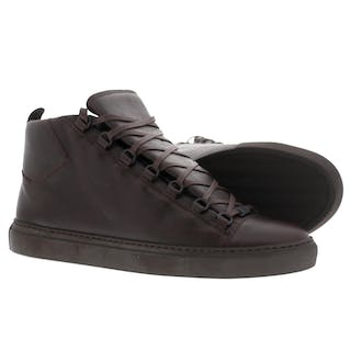f4dcd2ccf99d  2  PAIRS  Balenciaga Brown Arena Leather High-Top Shoes