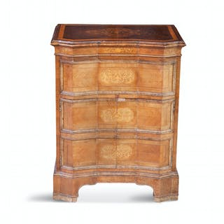 A DUTCH TULIPWOOD AND MARQUETRY INLAID COMMODE