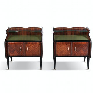 A pair of rosewood bedside lockers