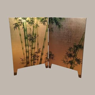 French Laquered Two-Panel Screen, 1950s