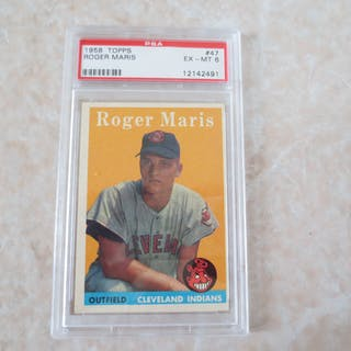 1958 Topps Roger Maris Psa 6 Ex Mt Rookie Baseball Card 47