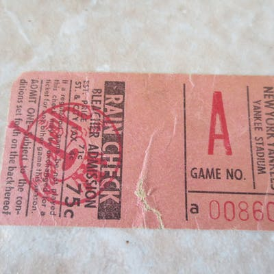 1940's-50's New York Yankees exhibition game ticket A Game