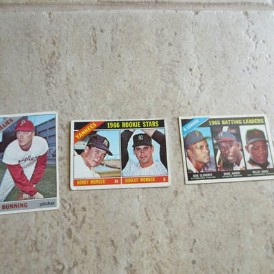 (3) 1966 Topps baseball cards: Murcer rookie, Bunning, 1965 Batting