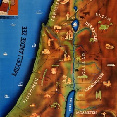 Palestine Time of Christ Illustrated School Map
