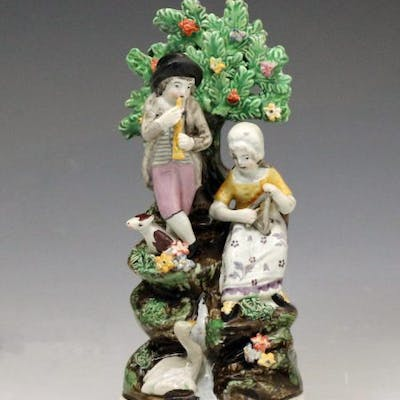 Staffordshire pottery bocage figure group, pearlware square base early