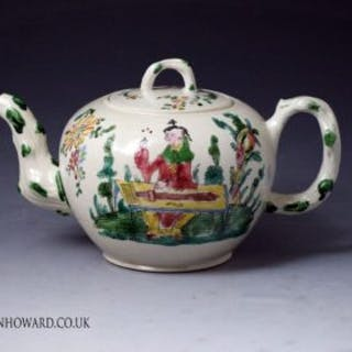 English stoneware saltglaze enamel decorated teapot in the chinoiserie