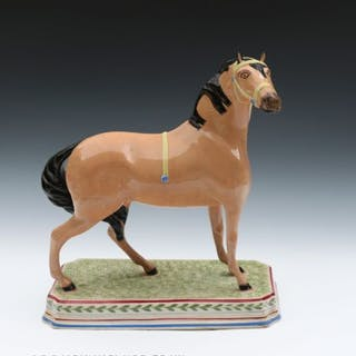 Antique pottery large figure of a horse attributed to the Leeds Pottery