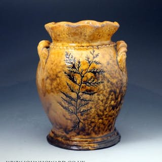 Welsh slipware earthenware vase with sgraffito sea weed decoration