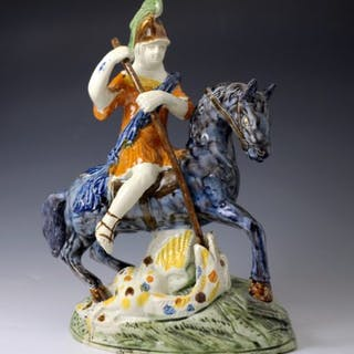 English pottery figure of Saint George slaying the Dragon antique