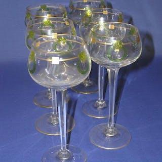 Jugendstil Stengel-Glas, Werksentwurf um 1904/05, Theresienthal, Vitrinen-Glas