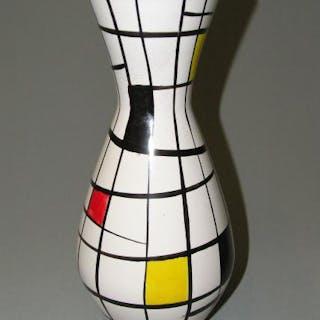 Große Design Vase, Keramik, 70er Jahre, gemarkt, handbemalt im De Stijl-Stil
