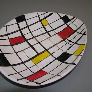 Keramik Design Schale, 70er Jahre, handbemalt in De Stijl-Stil