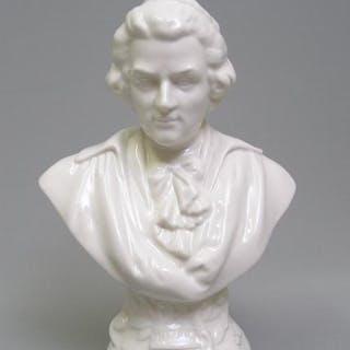 Keramik Komponisten-Büste: Mozart, gemarkt Volkstedt (Thüringen)
