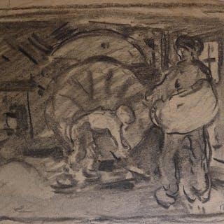 Rudolf Gudden (1863-1935): 6 x Zeichenblätter, Gemälde-Vorstudien