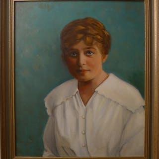 Katie Endres: Mädchenporträt, signiertes Öl Gemälde, datiert 1971