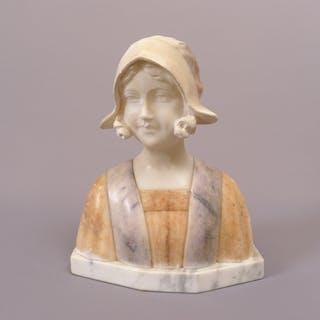 Auguste Henri Carli (1868-1930): Mädchen-Büste, signierte französische