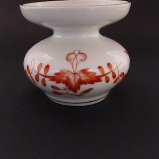 Meissen Porzellan Kerzenständer, Marke 1962-1990, rostroter Floraldekor