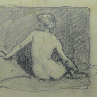 Rudolf Gudden (1863-1935): Bleistift-Zeichnung, Rückenakt-Studie