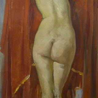 Andrée Algrain (1905-1999): Öl Gemälde, Frauenakt / Aktstudie, Belgien