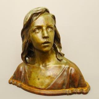 "Raoul Larche (1860-1912): Bronze Büste - ""12-jähriger Jesus im Tempel"""