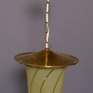 Kleine Art Deco Deckenlampe / Flurleuchte, Messing, einflammig
