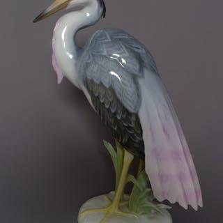 Max Hermann Fritz (1873-1948): Porzellanplastik, Silberreiher, Ausführung