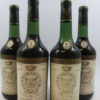 4 bouteilles CHÂTEAU GRUAUD LAROSE 1966 2è GC Saint Julien (3 à 4 cm