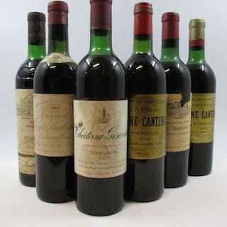 6 bouteilles 1 bt : CHÂTEAU LASCOMBES 1970 2è GC Margaux (niveau légèrement
