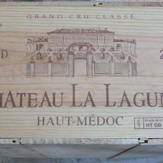 12 bouteilles CHÂTEAU LA LAGUNE 2000 3è GC Haut Médoc Caisse bois d'origine