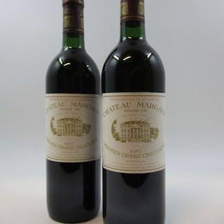 2 bouteilles CHÂTEAU MARGAUX 1985 1er GC Margaux (base goulot