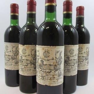 5 bouteilles CHÂTEAU LAGRANGE 1970 3è GC Saint Julien (2 légèrement bas