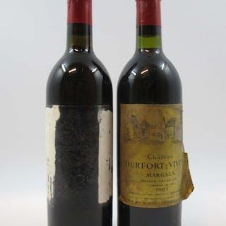 12 bouteilles CHÂTEAU DURFORT VIVENS 1981 2è GC Margaux (3 légèrement bas