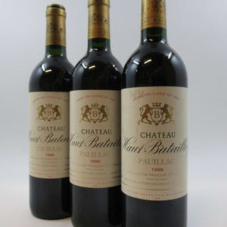 3 bouteilles CHÂTEAU HAUT BATAILLEY 1996 5è GC Pauillac (base goulot