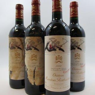 4 bouteilles CHÂTEAU MOUTON ROTHSCHILD 1996 1er GC Pauillac (2 étiquettes