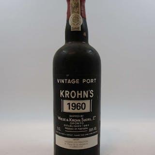 1 bouteille PORTO KROHN'S 1960 Vintage (étiquette fanée)