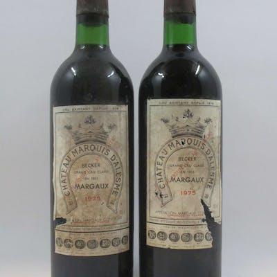 11 bouteilles CHÂTEAU MARQUIS D'ALESME BECKER 1975 3è GC Margaux (base