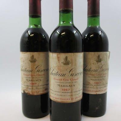 3 bouteilles CHÂTEAU GISCOURS 1967 3è GC Margaux (1 haute épaule