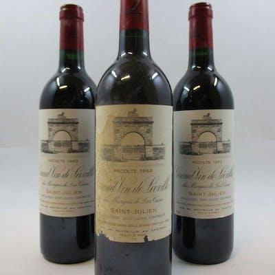 9 bouteilles CHÂTEAU LEOVILLE LAS CASES 1993 2è GC Saint Julien (étiquettes