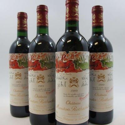 12 bouteilles CHÂTEAU MOUTON ROTHSCHILD 1989 1er GC Pauillac (1 base goulot