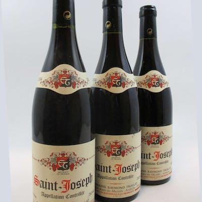 3 bouteilles SAINT JOSEPH 2004 (rouge) Raymond Trollat (étiquettes léger usées