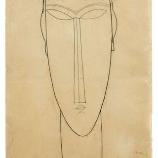 Amedeo MODIGLIANI, Amedeo MODIGLIANI 1884 - 1920 Tête - Circa 1911-1912